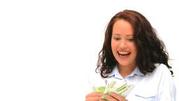 Good looking brunette proud of her cash Footage