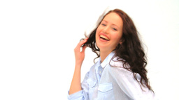 Relaxed woman looking at the camera Stock Video Footage