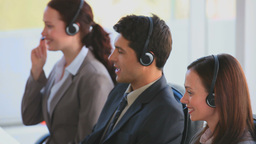 Business team in a call center Stock Video Footage