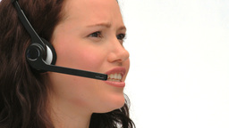 Young businesswoman in a call center Stock Video Footage