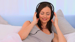 Lovely woman listening to some music Stock Video Footage