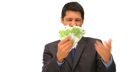 Young businessman holding his cash Stock Video Footage