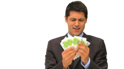 Young businessman holding his cash Footage