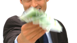 Happy businessman kissing his money Footage