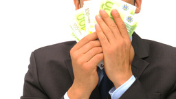 Happy businessman kissing his money Stock Video Footage