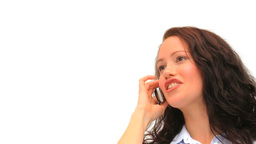 Woman phoning against a white background Footage