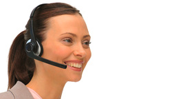 Business woman using an headset Footage