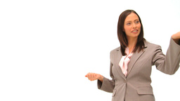 Brunette business woman giving some explanation Footage