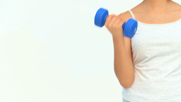 Senior woman with dumbbells Stock Video Footage