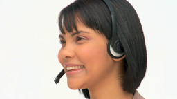 Asian woman speaking into the headset Footage