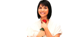 Chiness woman holding a red rose Stock Video Footage
