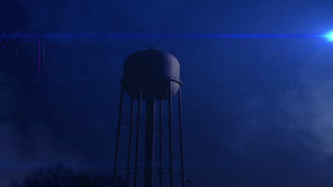 0814 Water Tower at Night with Heavy Fog, 4K Stock Video Footage
