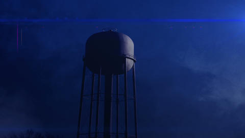 0814 Water Tower at Night with Heavy Fog, 4K Footage