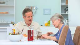 Elderly couple eating Footage