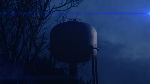 0820 Water Tower at Night with Heavy Fog, 4K Stock Video Footage