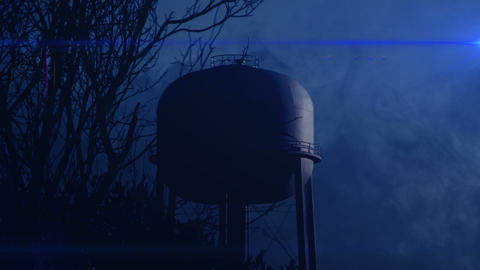 0820 Water Tower at Night with Heavy Fog, 4K Footage