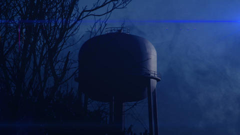 0821 Water Tower at Night with Heavy Fog, HD Footage