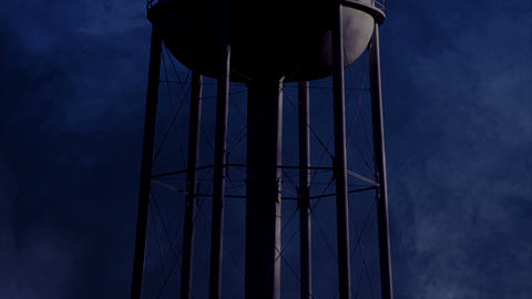 0822 Water Tower at Night with Heavy Fog, HD Footage