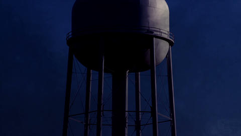 0822 Water Tower at Night with Heavy Fog, HD Stock Video Footage