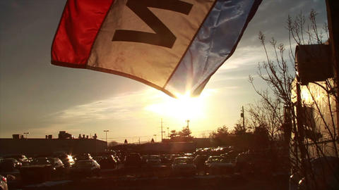 0832 Open Flag at Sunset , Slow Motion Footage