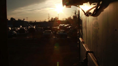 0835 Sunset Next To Food Truck stock footage