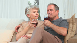 Mature couple enjoying a glass of red wine Footage