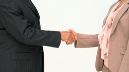 Two business people shaking hands Stock Video Footage