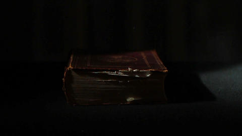 0355 Ancient Giant Book being Thrown Down Stock Video Footage