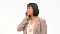 Asian woman speaking on the phone Footage