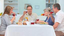 A dinner between mature friends Stock Video Footage