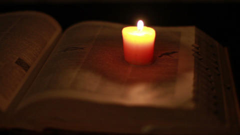 0369 Ancient Giant Book with Candle Light Footage