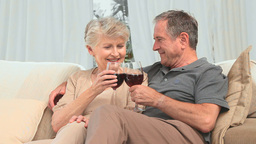 Lovely retired couple enjoying a glass of red wine Stock Video Footage