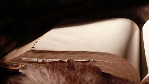 0378 Ancient Giant Book Sitting on Fur (with blank Stock Video Footage