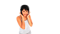 Lovely asian lady with headphones Footage