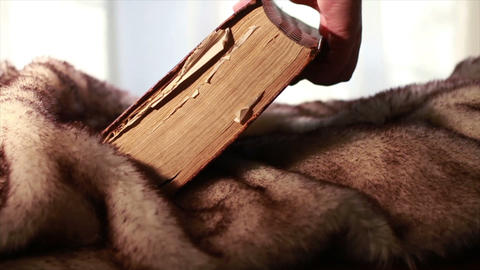 0385 Ancient Giant Book being Picked up on fur Stock Video Footage