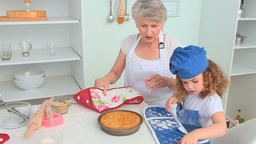 Cute little girl cooking Stock Video Footage