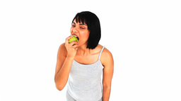 Woman eating an apple Footage