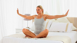 Good looking woman doing yoga Footage