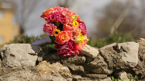 Wedding Bouquet On The Rocks stock footage