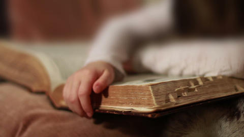 0395 Child Sleeping on Giant Book Stock Video Footage