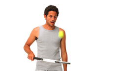Handsome man playing tennis Stock Video Footage