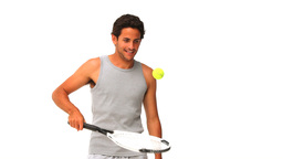 Handsome man playing tennis Footage