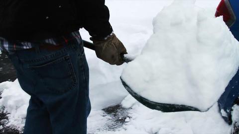 Man Shovels Snow After Big Snow Storm Live Action