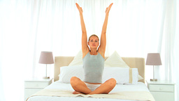 Cute woman doing yoga Stock Video Footage