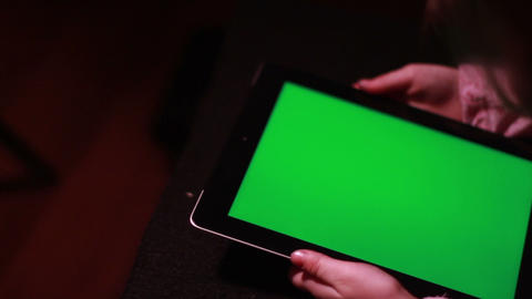 Child with Tablet Device, Green Screen Stock Video Footage