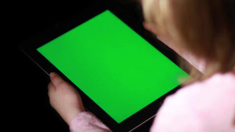 Child with Tablet Device, Green Screen Footage