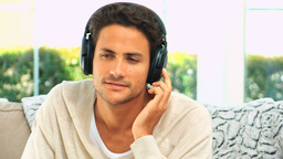 Lovely man listening to music Stock Video Footage