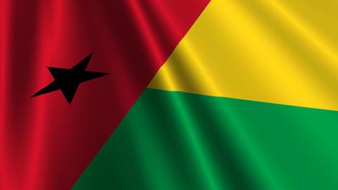 BissauGuineaFlagLoop03 Stock Video Footage