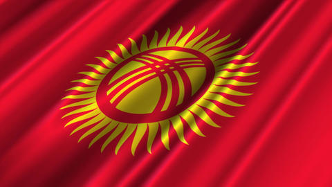 KyrgyzstanFlagLoop02 Stock Video Footage