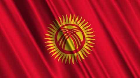 KyrgyzstanFlagLoop01 Stock Video Footage